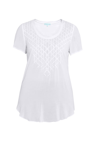 White Embroidered Cap Sleeve Top