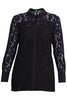 Black Contrast Sleeve Lace Shirt