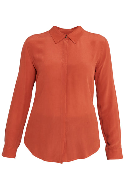 Burnt Orange Neat Long Sleeve Silk Shirt
