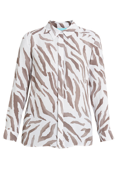 Zebra Print Button Down Shirt