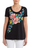Bouquet Print Scoop Neck Tee