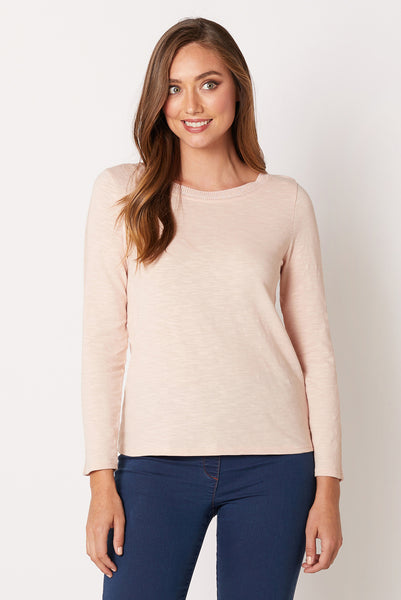Knit Trim Long Sleeve Top
