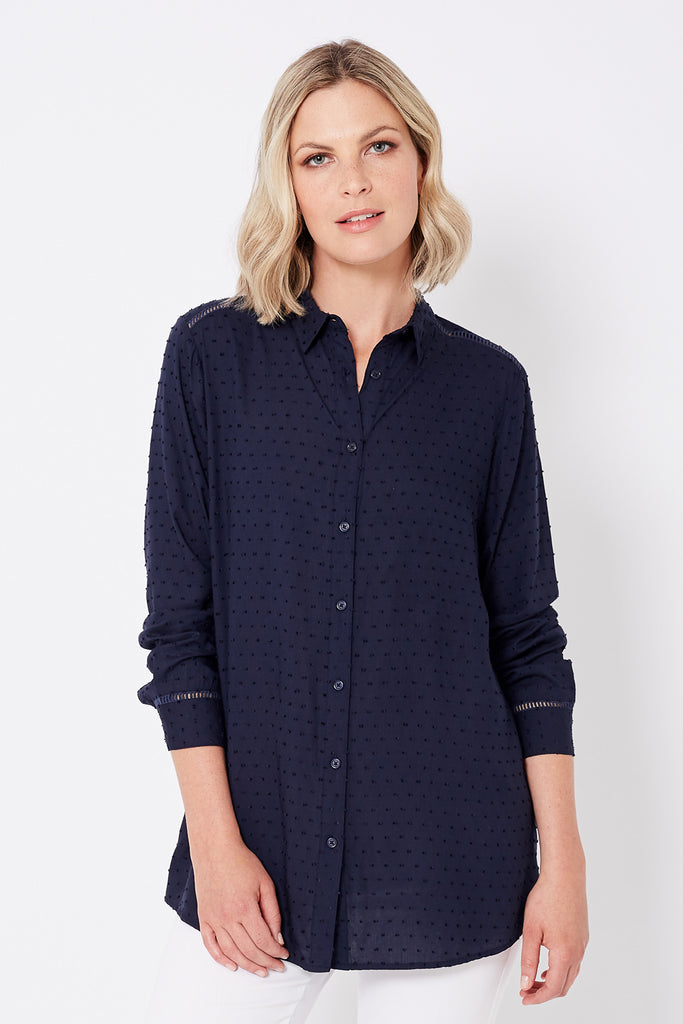 Textured Shirt with Trim