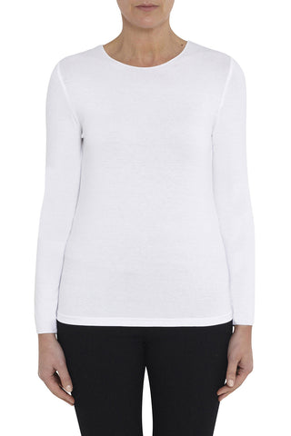 White Long Sleeve Crew Neck Top