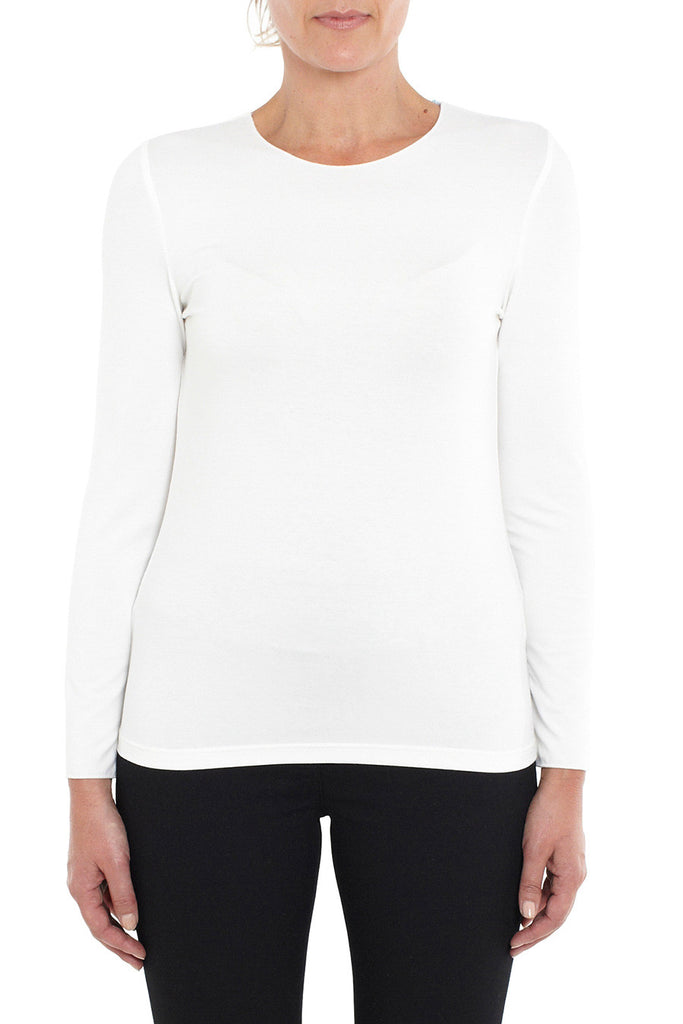 Cream Long Sleeve Crew Neck Top