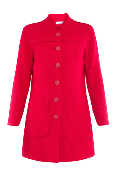 Rouge Boiled Wool Button Through Jacket