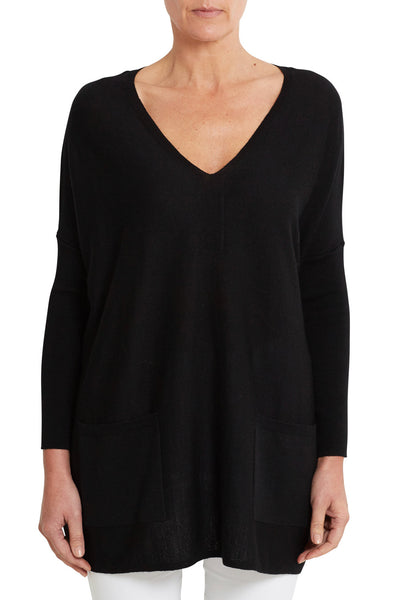 Black Merino V-Neck Poncho