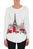 Eiffel Tower Print Scoop Hem Christmas Knit