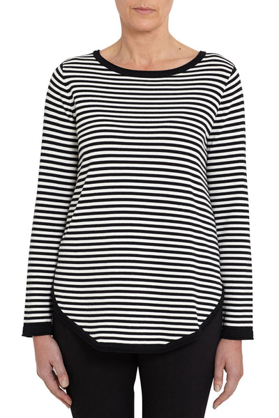Black Striped Scoop Hem Knit