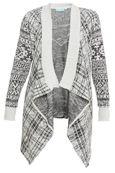 Gingham Printed Waterfall Cardi