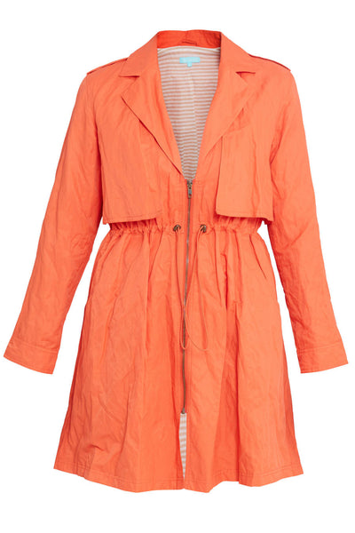 Nylon Crinkle Trench Coat
