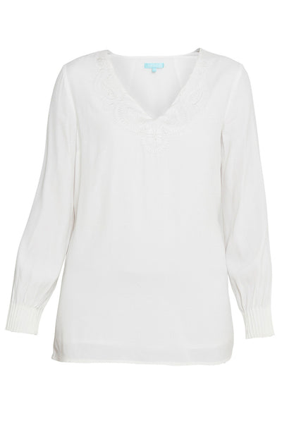 Pearl Embroidered V-Neck Tunic