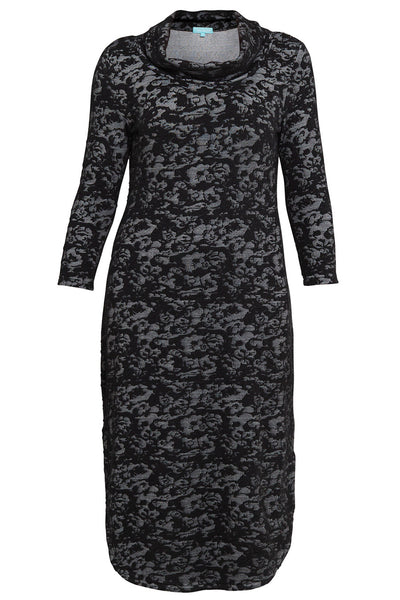 Butterfly Print Roll Neck Knit Dress