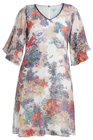 Pixelated Floral Flutter Silk Dress