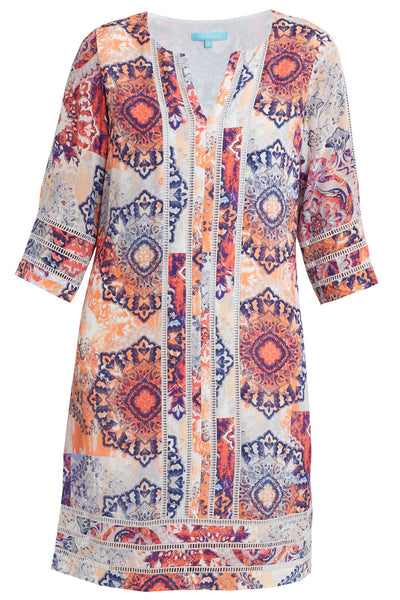 Contrast Trim Kaftan Dress