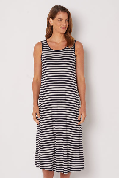 Stripe Long Midi Dress