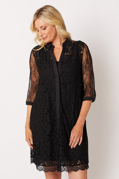 Lace Swing Shirt Dress