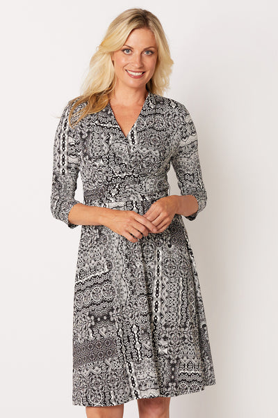 ¾ Sleeve Print Dress