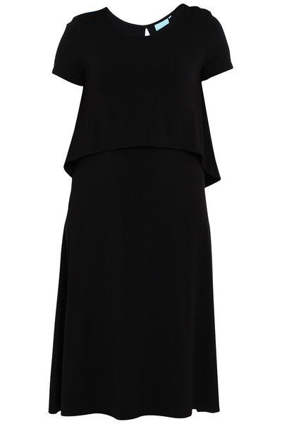 Layered Midi Dress Black