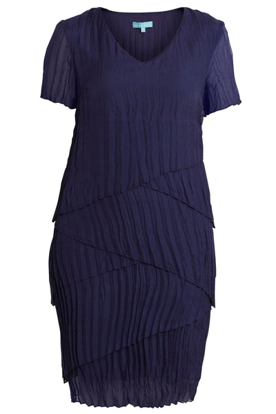 Navy Layer Silk Dress