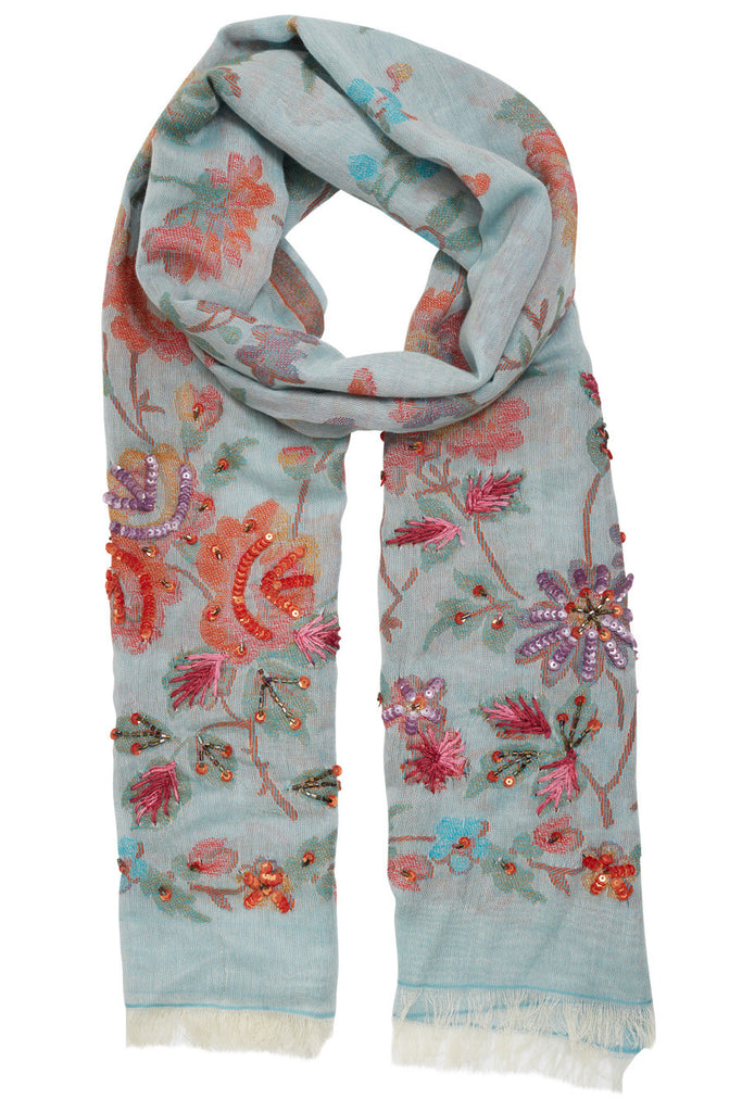 Hailey Floral Embroidered Scarf