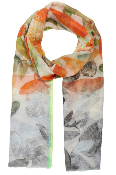 Autumn Orange Leaf Scarf
