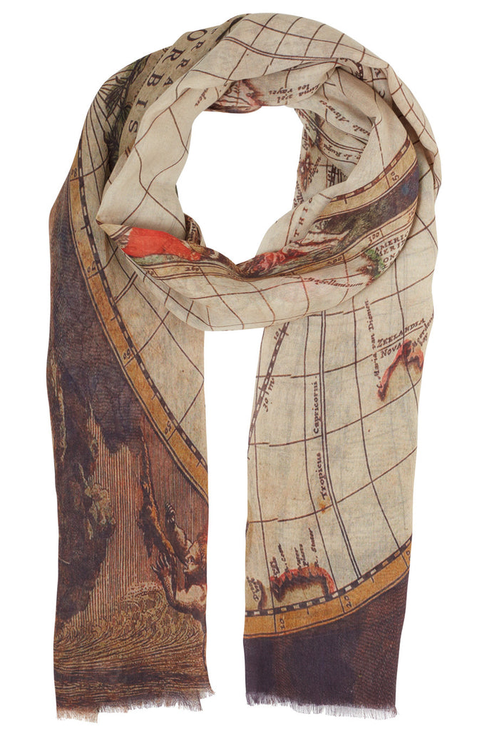 Ainslee Purple Map Scarf