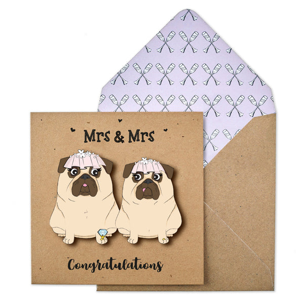 Mrs & Mrs Wedding Pugs