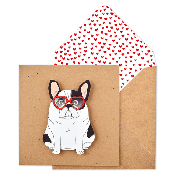 Podgy French Bulldog Heart Glasses