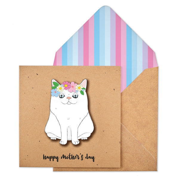 Mother's Day White Cat