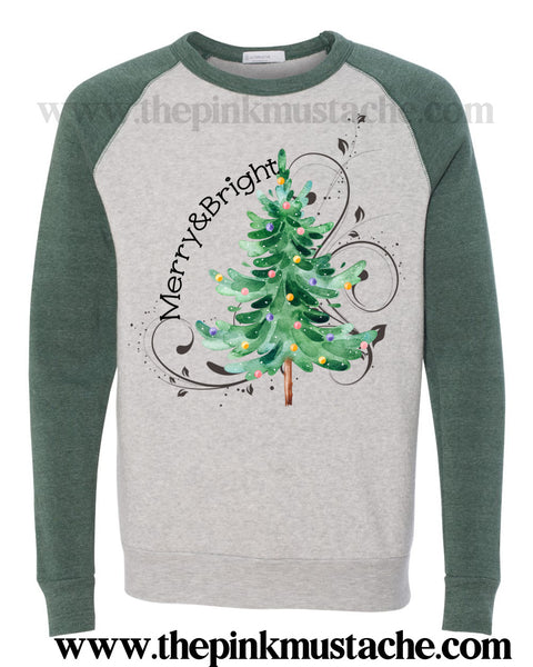 Merry and Bright Christmas Tree Raglan Mineral Wash Quality Soft Sweatshirt / Christmas Sweatshirt