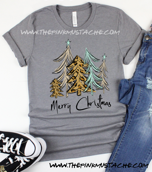 Merry Christmas Tree Print  Bella Canvas Shirt / Youth and Adult sizing / Christmas T-Shirt