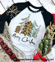 Merry Christmas Tree Print  Raglan / Youth and Adult sizing / Christmas T-Shirt