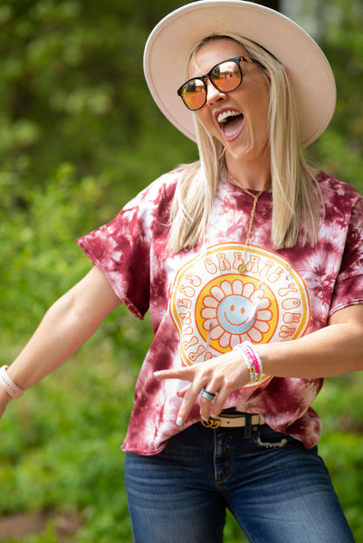 Create Your Own Happiness Retro Style Quality Chicka-D Tie Dye Slouchy Tee