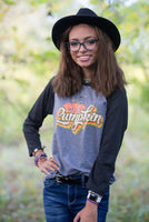 Hello Pumpkin Retro Fall Raglan Shirt/ Boutique Bella Canvas Raglan Tee/ Fall Layering Tee / Teachers Tee Youth and Adult Sizing