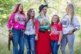 Bleached  Merry Christmas Trees Pink Long Sleeved Tee/ Super Cute Bleached Christmas Shirts