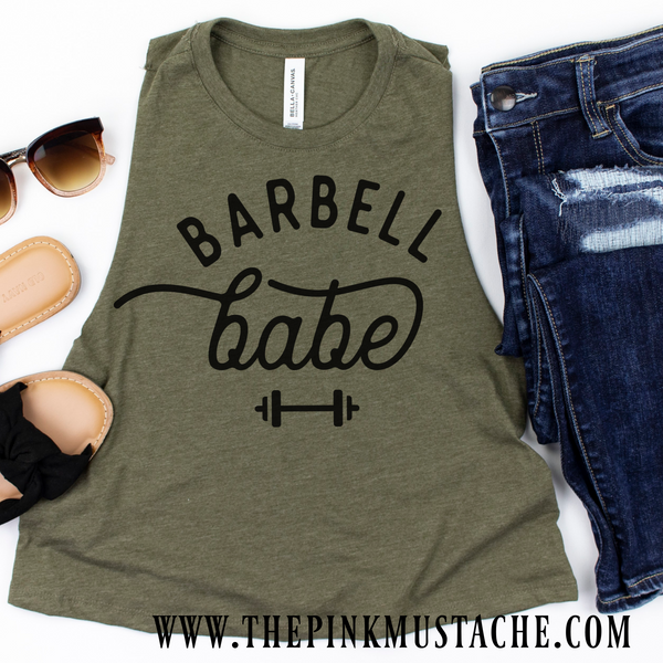 Barbell Babe Cropped Tank / Crossfit / Workout Tank
