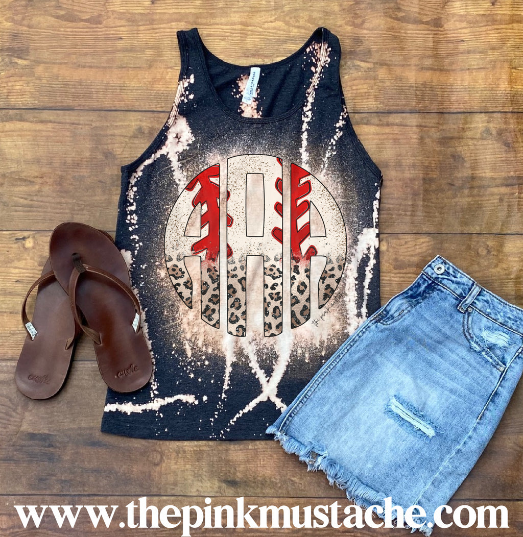 Baseball Laces Monogrammed Racerback Tank Top