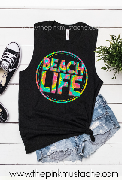 Beach Life Tie Dye Print Summer Tank Top / Muscle Tank