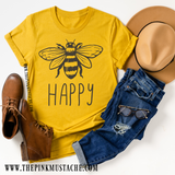 Bee Happy T-Shirt / Mustard Tee / Fall Layering Tee / Teachers Tee