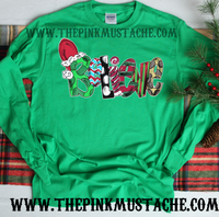 Long Sleeved Believe Hand Drawn Christmas Print  Shirt /Christmas T-Shirt/ Youth and Adult Sizes Available