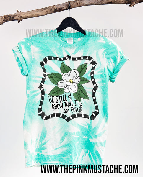Bleached Be Still And Know The I Am God Tee /Psalm 46:10/  Softstyle Turquoise Seafoam Tee/Easter