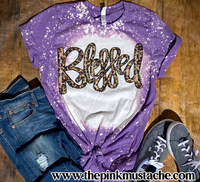 Purple Bleached Christmas - Blessed Leopard- Softstyle Tees