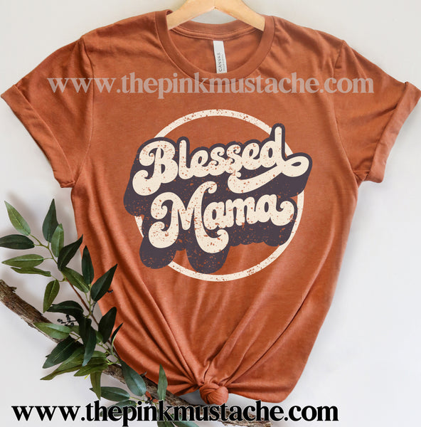 Softstyle Blessed Mama Retro Tee / Mother's Day Style / Gifts for Her