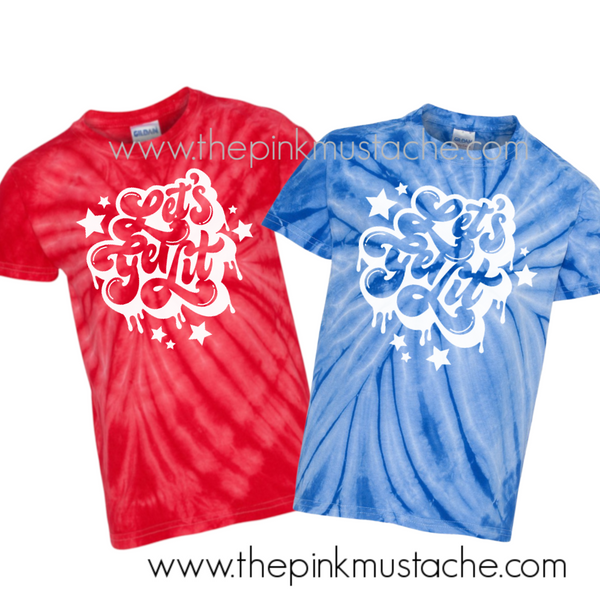 Let's Get Lit Tie Dye Fourth of July Tees/ Retro July 4th Tees