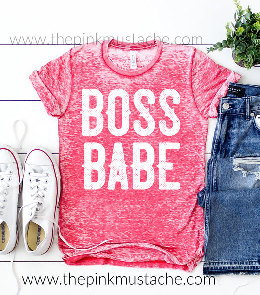 Acid Washed Red - Boss Babe T-Shirt / Boss Babe / Women's Girl Boss T-Shirt