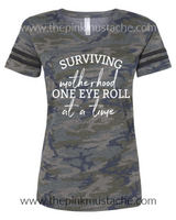 Camouflage V-Neck Surviving Motherhood One Eye Roll At A Time T-Shirt / Camo Tee/ Sizes 2T-XXXL / Funny Mom Tee