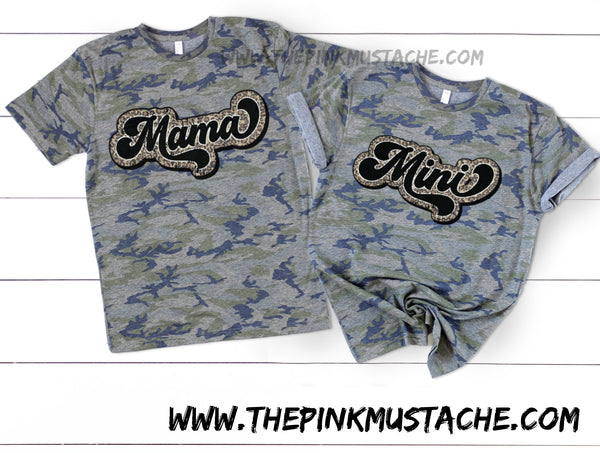 Mommy and Me Camouflage Mama and Mini Leopard Retro Rocker Tee/ Camo Matching Shirts or Onesies