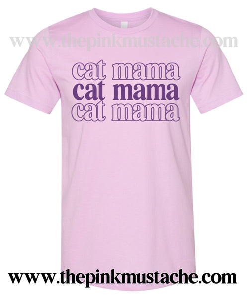 Softstyle Stacked Cat Mama Retro Tee / Cat Mom Shirt  / Gifts for Her
