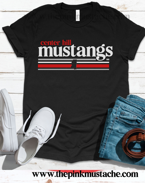 Center Hill Mustangs Shirt / DC -Desoto County Schools / Mississippi School Shirt
